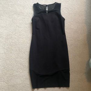 Guess black dress with leather and mesh detailing